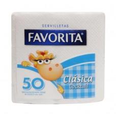 SERVILLETA FAVORITA CLASICA COCKTAIL  CAJA DE 48 PAQUETES DE 50 SERV. C/U